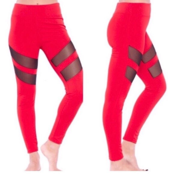 Electric Yoga Tummy Tuck Mesh Racer Red Leggings NWT